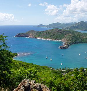 Scenic view over Shirley Heights, Antigua
